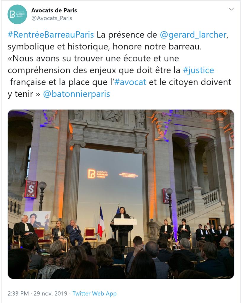 Tweet Rentrée avocats Paris