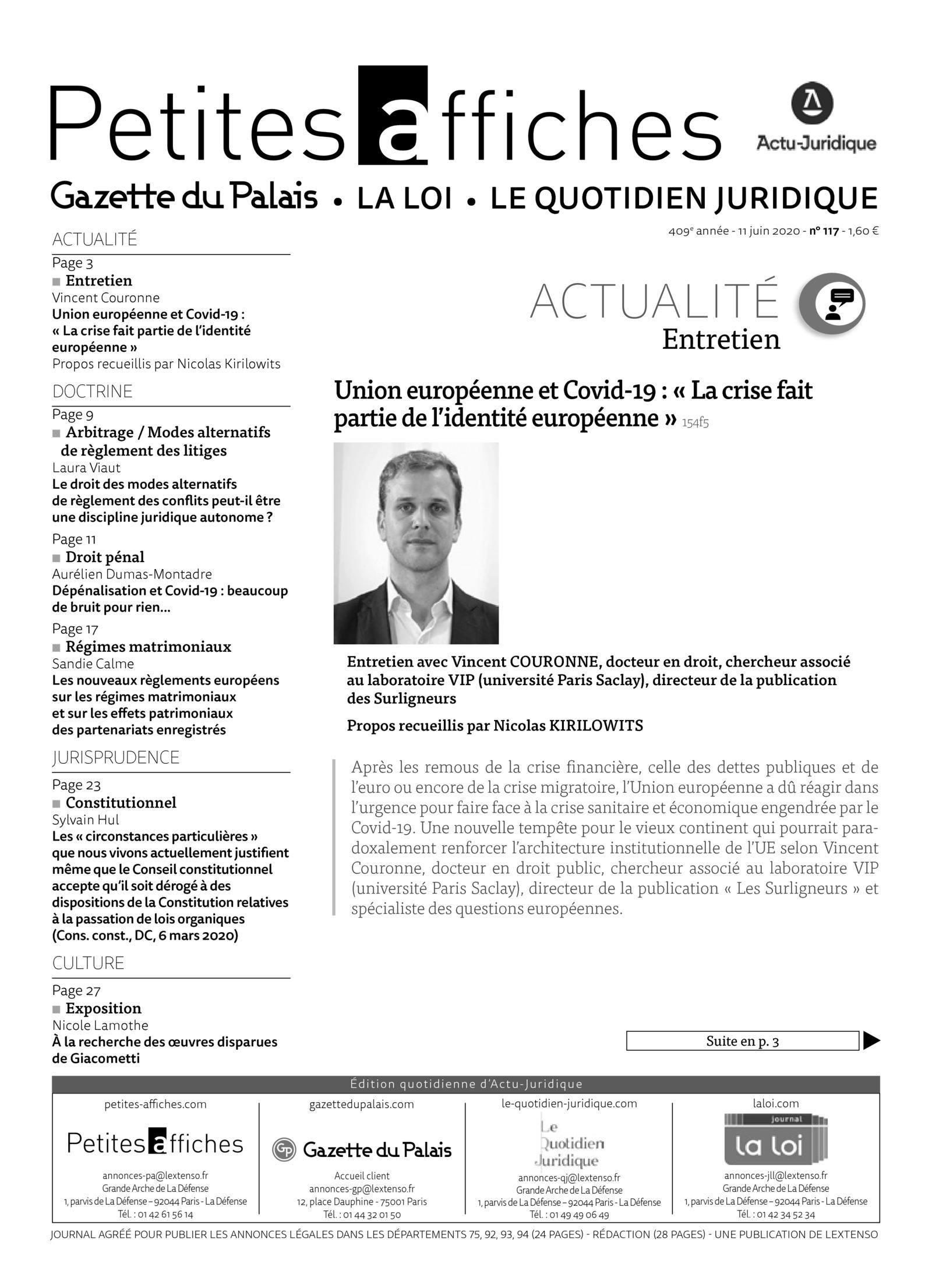 Union Europeenne Et Covid 19 La Crise Fait Partie De L Identite Europeenne Actu Juridique